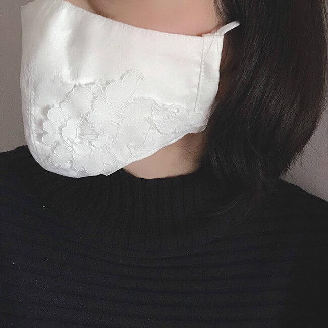 白立体マスク レースモチーフ付